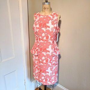 NWT Teri Jon Brocade Floral Peplum Shift Dress
